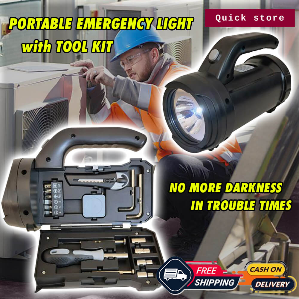 PORTABLE EMERGENCY LIGHT WITH TOOL KIT