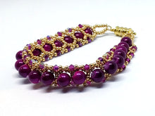 Load image into Gallery viewer, Gold and Fuchsia Swarovski Beaded Bracelet