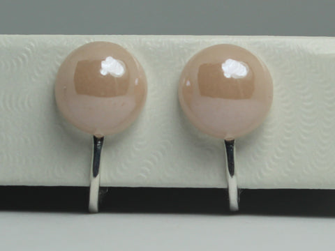 Clip-On Stud Pearlized Cream Earrings