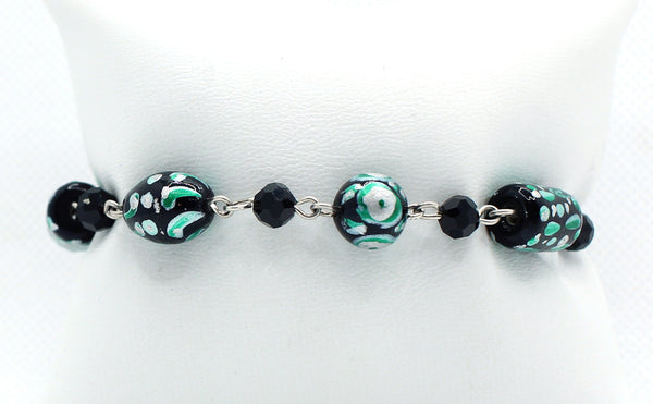 Black and Green Lampworked Bracelet