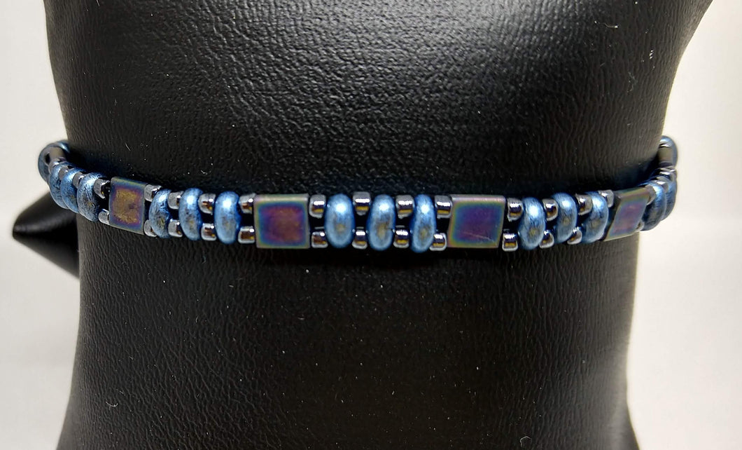 Blue and Black Beaded Bracelet