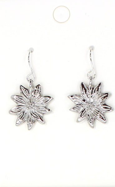 Silver Flower Charm Earrings