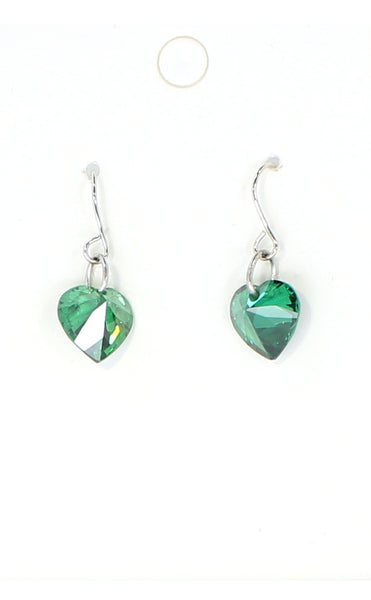 Green Crystal Heart Earrings