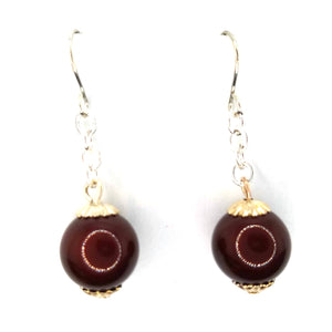 Maroon Swarovski Dangle Earrings