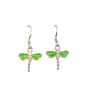 Green Swarovski and Sterling Silver Dragonfly Earrings