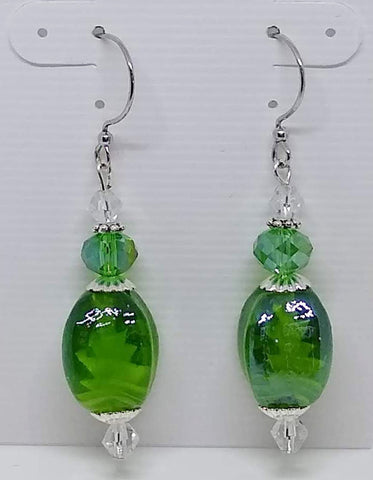 Green Lamp Work Dangle Earrings