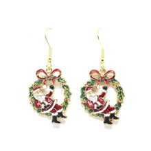 Load image into Gallery viewer, Santa on Wreath Earrings