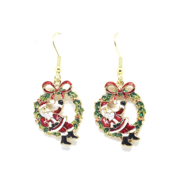 Santa on Wreath Earrings