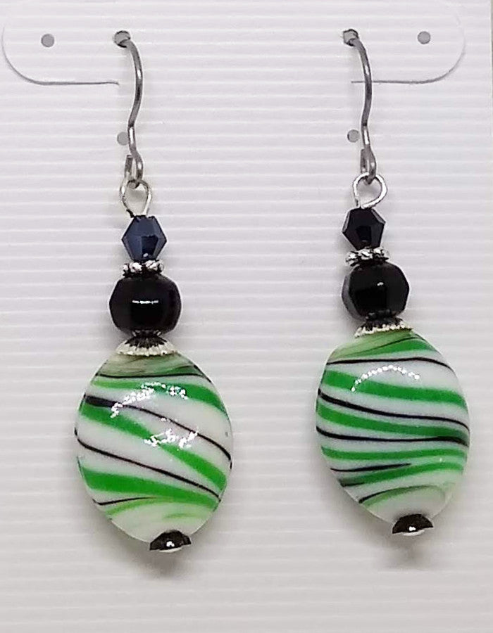 Green and Black Lamp Work Dangle Earrings