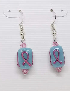 Pink Awareness Lamp Work Earrings