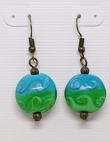 Green and Blue Beach Earrings