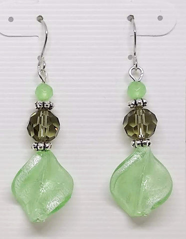 Green and Gray Lamp Work Dangle Earrings