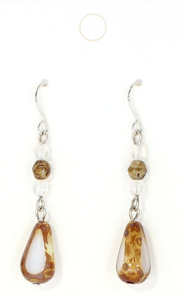 Brown Triangle Drop Earrings