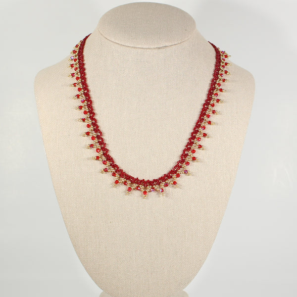 Red and Gold Sunrise Beaded Necklace