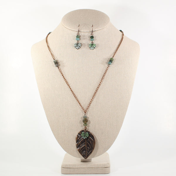 Green Leafy Necklace and Earring Set