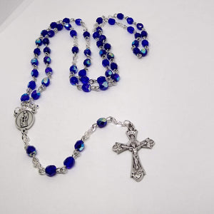 Handmade Traditional Catholic Rosary Cobalt Sparkle