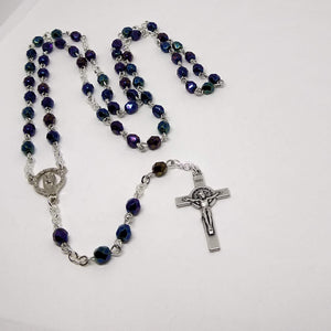Handmade Traditional Catholic Rosary Deep Blue