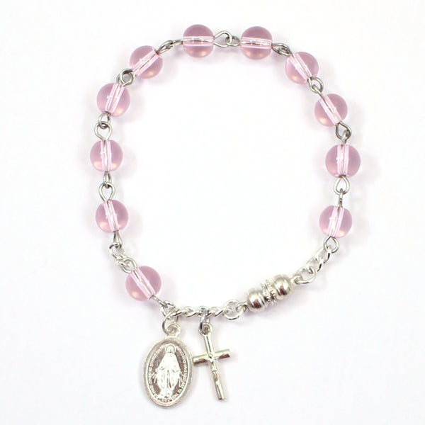 Pink Miraculous Medal Rosary Bracelet