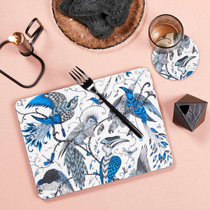 Blue jungle-inspired Audubon placemat by Emma J Shipley