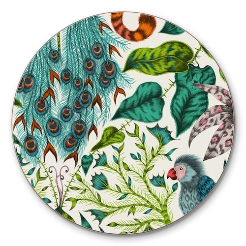 Green jungle-inspired cork-backed coaster by Emma J Shipley