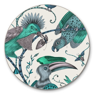 Green cork-backed coaster by Emma J Shipley