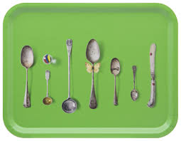 Green cutlery birchwood tray by Michael Angove