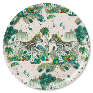 Lost world birchwood tray featuring Zebra by Emma J Shipley