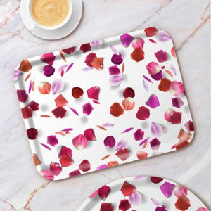 Birchwood serving tray with rose petals pattern by Michael Angove