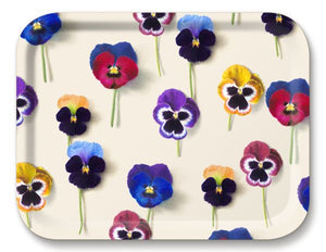 Birchwood serving tray with pansy pattern by Michael Angove