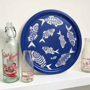 Shoal of Fish Round Tray - Blue