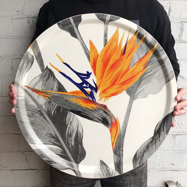 Orange and grey strelitzia bird of paradise birchwood tray