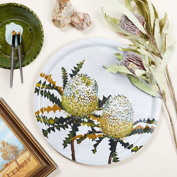 Serving tray with Australia banksia pattern by Bell Art