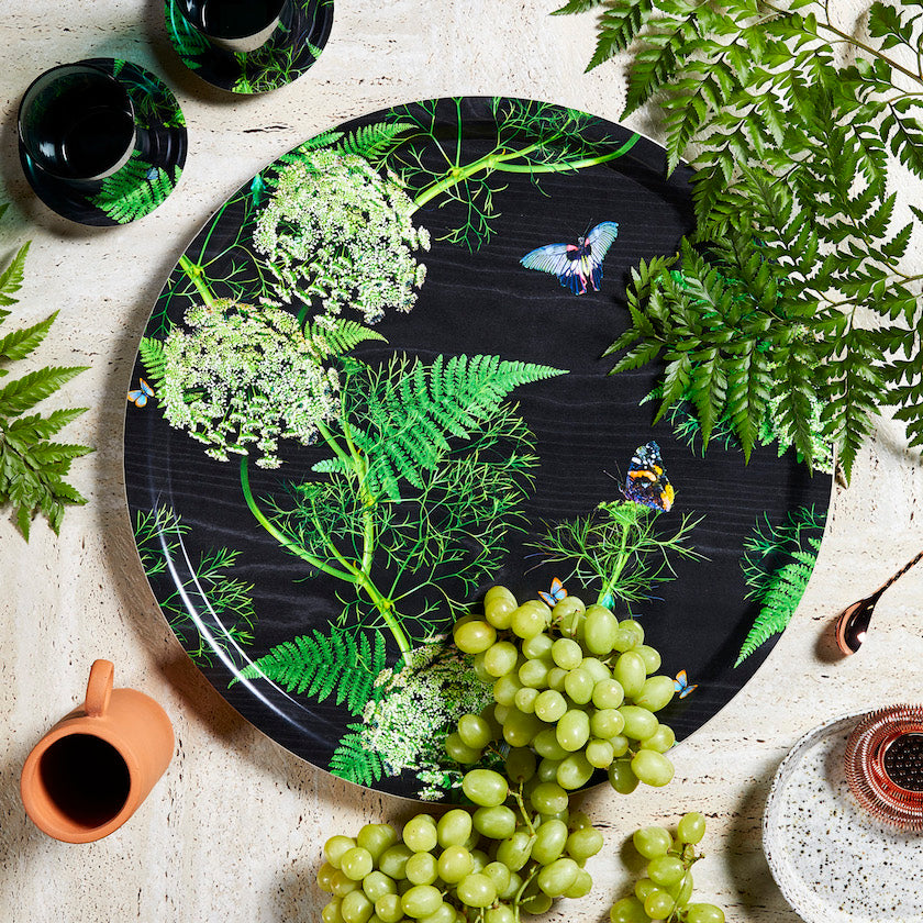 Black and Green Dill birchwood tray by Michael Angove