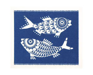 SHOAL OF FISH, BLUE - DISHCLOTH