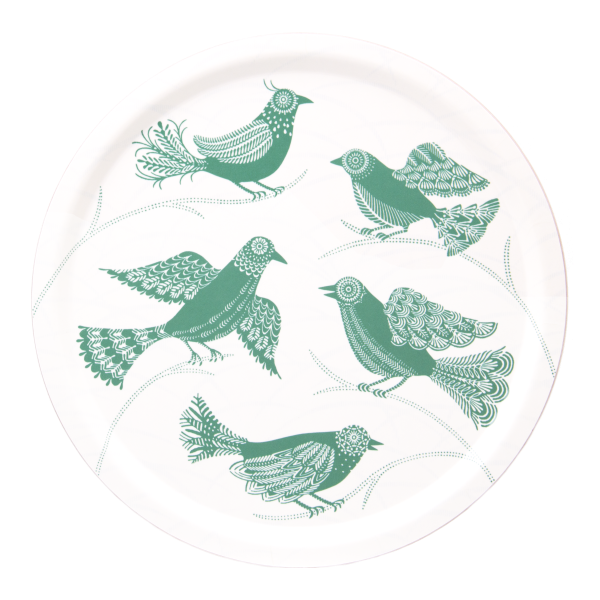 Birchwood serving tray with green doves pattern by Asta Barrington