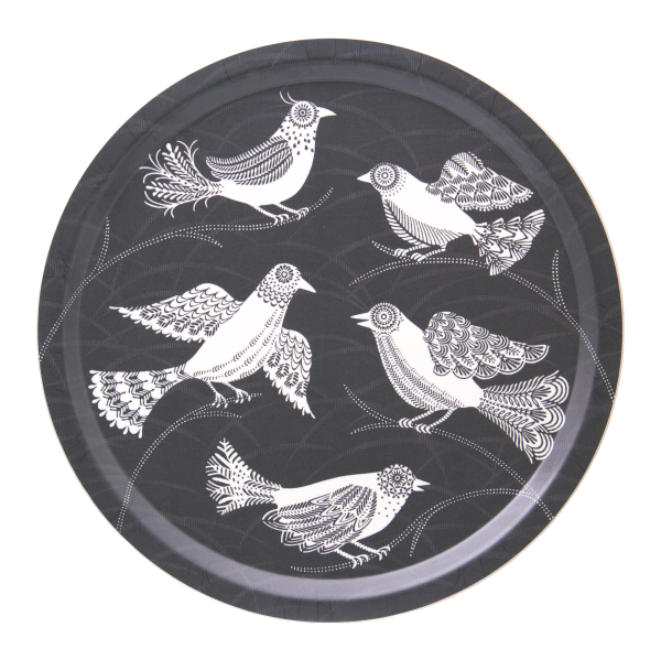 Birchwood serving tray with doves pattern by Asta Barrington