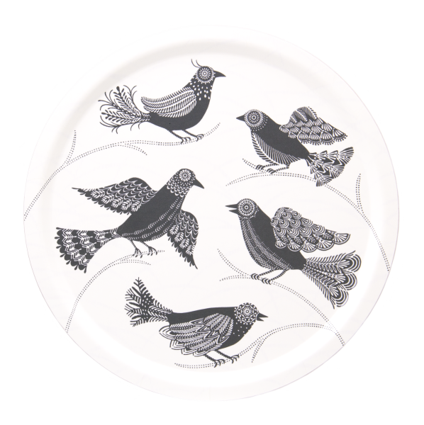 TRAY, DOVES (WHITE), ROUND