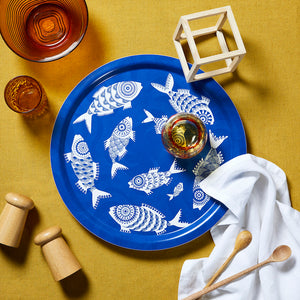 SHOAL OF FISH, BLUE - TRAY ROUND