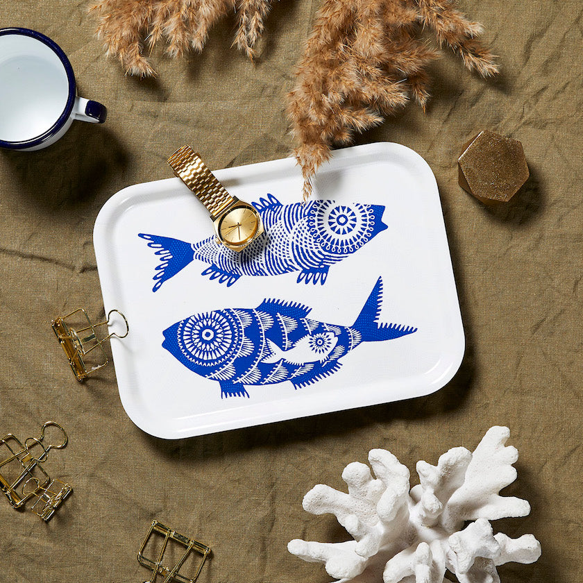 Birchwood tray with seafood pattern by Asta Barrington