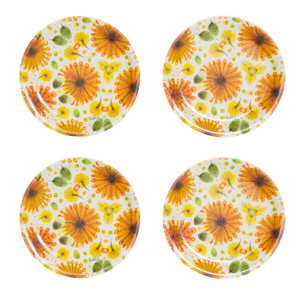 Coasters with wattle pattern by Tara Axford