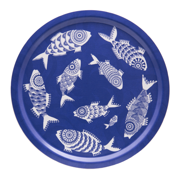 TRAY, SHOAL OF FISH (BLUE) ⌀39CM
