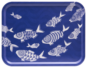 TRAY, SHOAL OF FISH (BLUE) 43x33CM