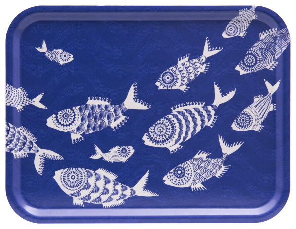SHOAL OF FISH, BLUE - TRAY RECT.