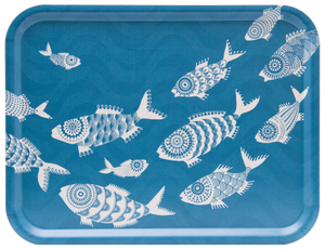TRAY, SHOAL OF FISH (TURQUOISE) 43x33CM