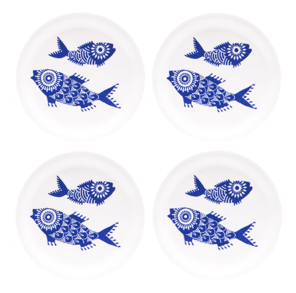 COASTERS, SHOAL OF FISH (WHITE) 4PCS