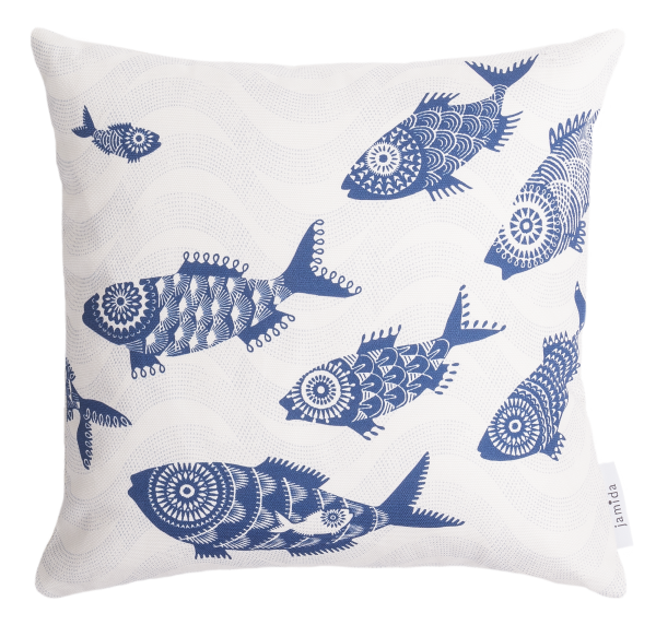 SHOAL OF FISH, WHITE - CUSHION