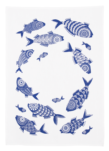 SHOAL OF FISH, WHITE - TEA TOWEL
