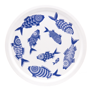 TRAY, SHOAL OF FISH (WHITE), ROUND
