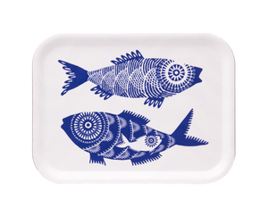 SHOAL OF FISH, WHITE - TRAY 27x20CM