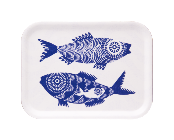 TRAY, SHOAL OF FISH (WHITE) 27x20CM